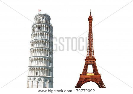 Leaning Tower of Pisa and The Eiffel Tower Isolated