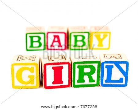 Colorful Alphabet Blocks Spelling The Words Baby Girl