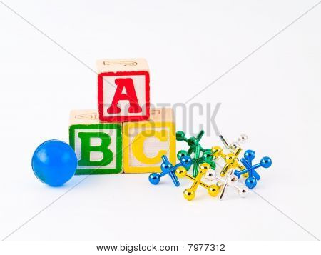 Colorful Alphabet Blocks Abc And Jacks As A Childrens Theme