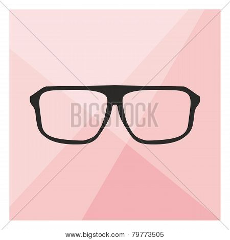 Glasses on pink background vector illustration.