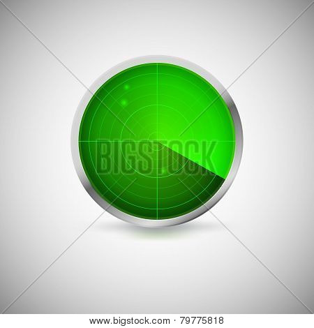 Radial screen of green color with targets.