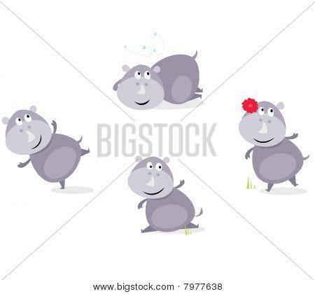 Cute happy Rhinoceros in four poses