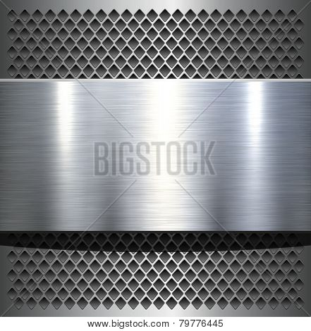 Metal plate texture polished metal background, vector illustration.