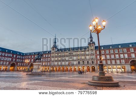 The Plaza Mayor Square In Madrid, Spain.