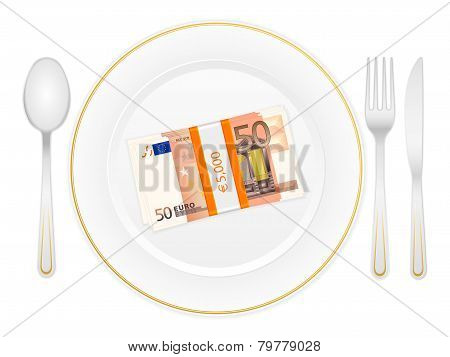 Plate Cutlery And Fifty Euro Pack
