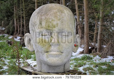 Woman's Head Made Of Concrete