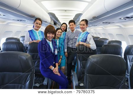 PHUKET, THAILAND - NOV 07: Bangkok Airways crew members on November 07, 2014. Bangkok Airways is a regional airline based in Bangkok. Its main base is Suvarnabhumi Airport, Bangkok