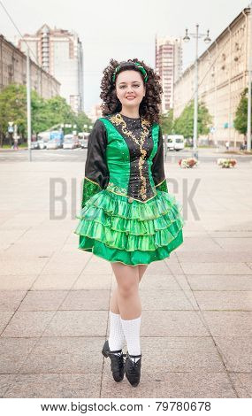 Young Woman In Irish Dance Dress Posing Outdoor