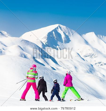 Family on ski vacations.