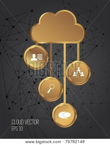 Gold cloud concept, vector