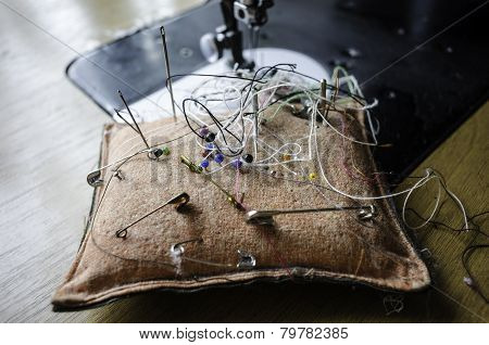 Pin Cushion With Needles And Pins