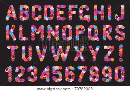 Set of letters and numbers of flowers.