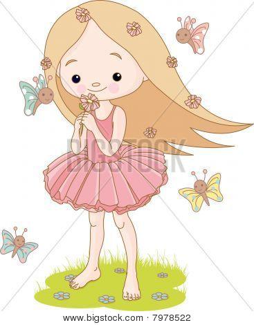 Summer girl smells a flower