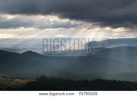 The first sunrise mountains Svydovets