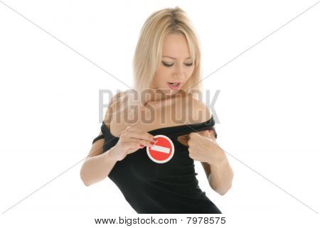 Woman Undresses And Holds Prohibiting Sign