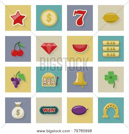 Slot Machine And Gambling Flat Icon Set With Shadows