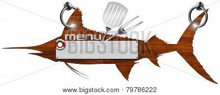 Marlin Menu Wooden Signboard