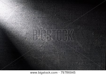 Black Background Illuminated From The Left Corner Spotlight And Vintage Grunge Background Texture