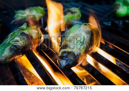 Peppers In Flames On The Grill