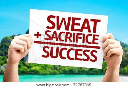 Sweat + Sacrifice = Success card with a beach on background