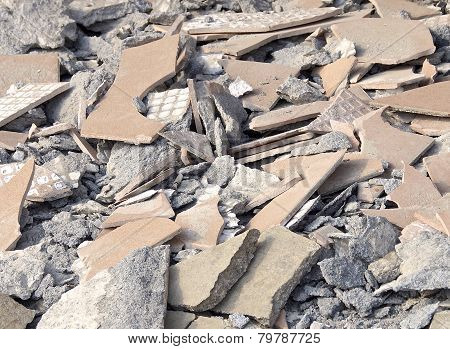 Debris at destroyed construction site