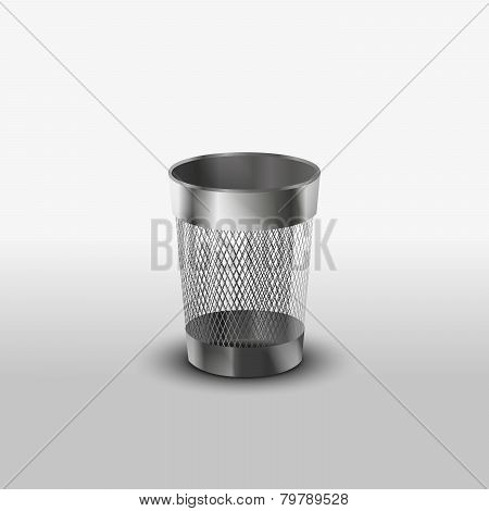 Empty steel trash can realistic icon