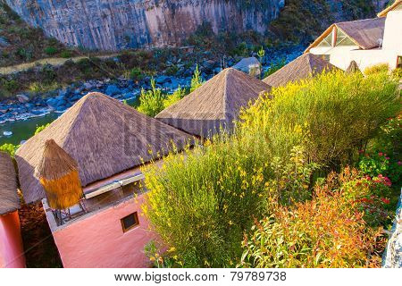Upscale Hotel And Inviting Courtyard And Garden In Colca Canyon, Peru In South America