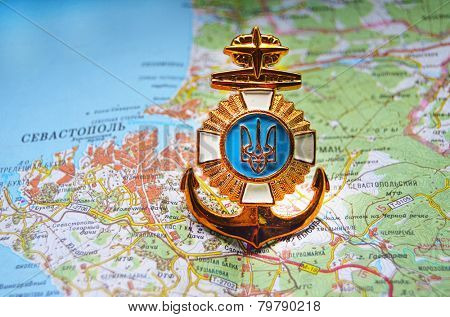 Kiev,Ukraine.JAN 10.Illustrative editorial.Ukrainian naval cockade.With map of Sevastopol,Crimea. Former Ukraine.At present time Russia. At January 10,2015 in Kiev, Ukraine