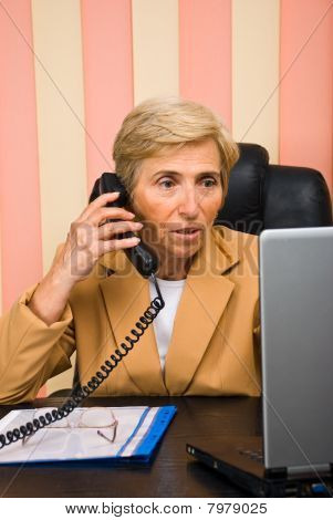 Senior  Business Woman Working In Office