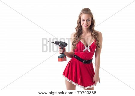 Beautiful busty Santa girl advertises drill