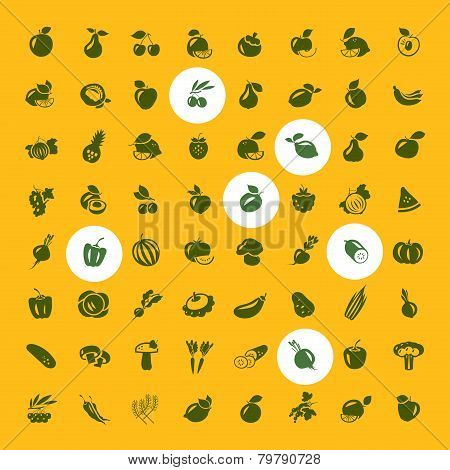 Fruits and vegetables set of icons