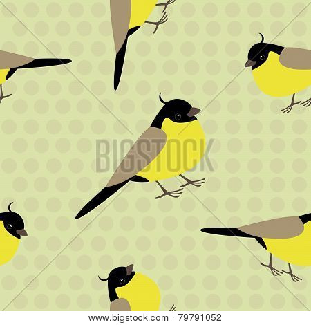 Seamless pattern with adorable yellow birds on a polkadot background