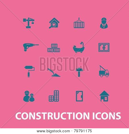 construction, repair, house icons, signs, silhouettes set, vector