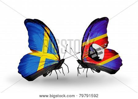 Two Butterflies With Flags On Wings As Symbol Of Relations Sweden And Swaziland