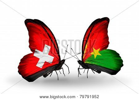 Two Butterflies With Flags On Wings As Symbol Of Relations Switzerland And Burkina Faso