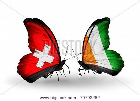 Two Butterflies With Flags On Wings As Symbol Of Relations Switzerland And Cote Divoire
