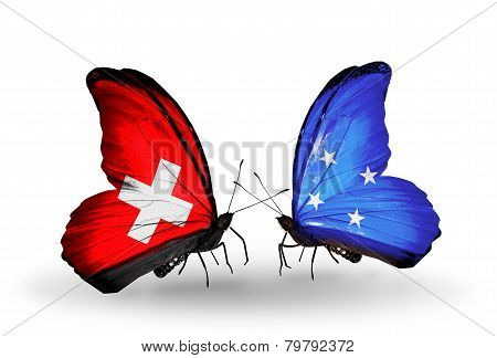 Two Butterflies With Flags On Wings As Symbol Of Relations Switzerland And Micronesia