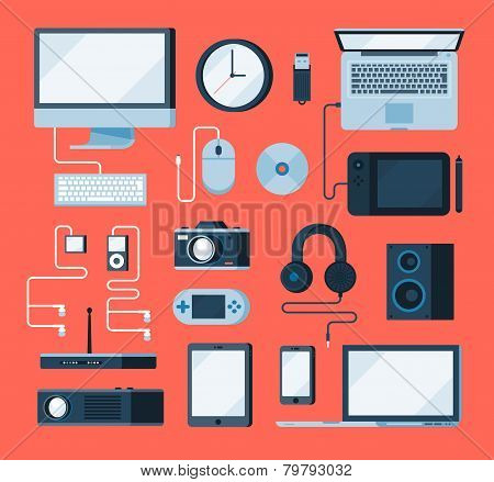 vector collection of various electronic devices