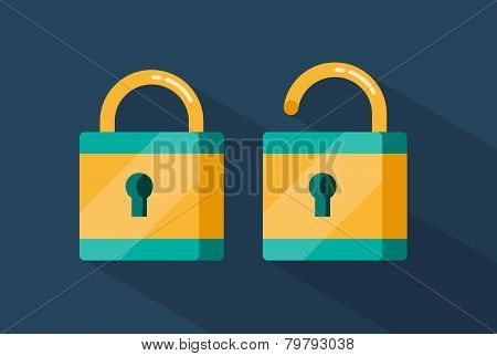 vector locked and unlocked padlocks