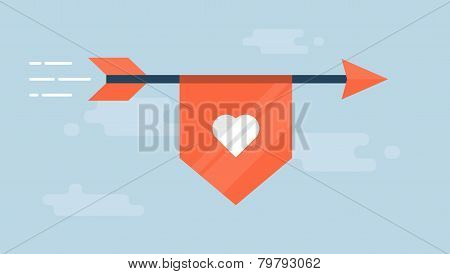 flaying arrow with a ribbon with a heart shape