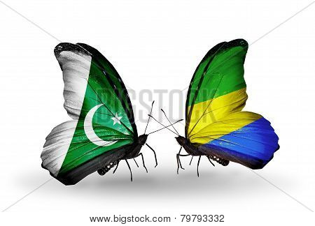 Two Butterflies With Flags On Wings As Symbol Of Relations Pakistan And Gabon