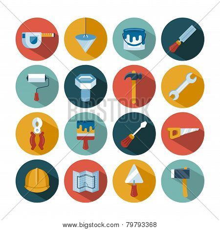 set of vector construction tools icons