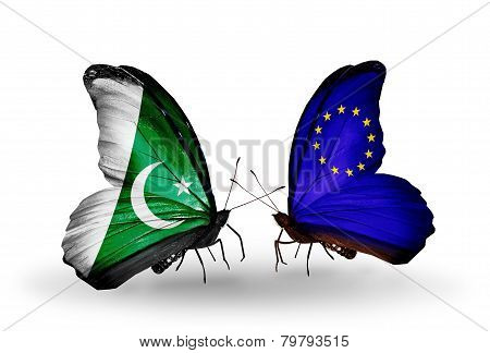 Two Butterflies With Flags On Wings As Symbol Of Relations Pakistan And  Eu