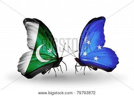 Two Butterflies With Flags On Wings As Symbol Of Relations Pakistan And Micronesia