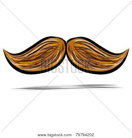 Mustache isolated on white vector illustration