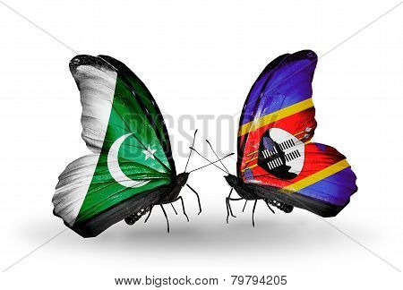 Two Butterflies With Flags On Wings As Symbol Of Relations Pakistan And Swaziland