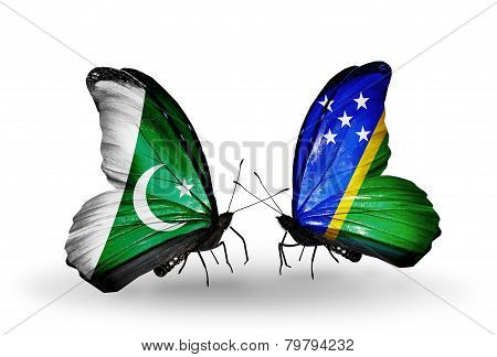 Two Butterflies With Flags On Wings As Symbol Of Relations Pakistan And Solomon Islands