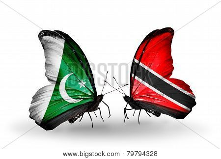 Two Butterflies With Flags On Wings As Symbol Of Relations Pakistan And Trinidad And Tobago