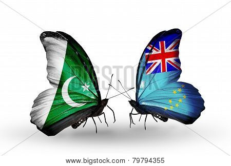 Two Butterflies With Flags On Wings As Symbol Of Relations Pakistan And Tuvalu