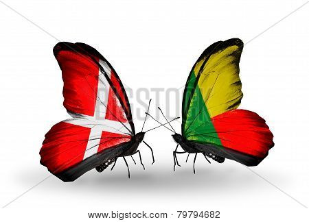 Two Butterflies With Flags On Wings As Symbol Of Relations Denmark And Benin